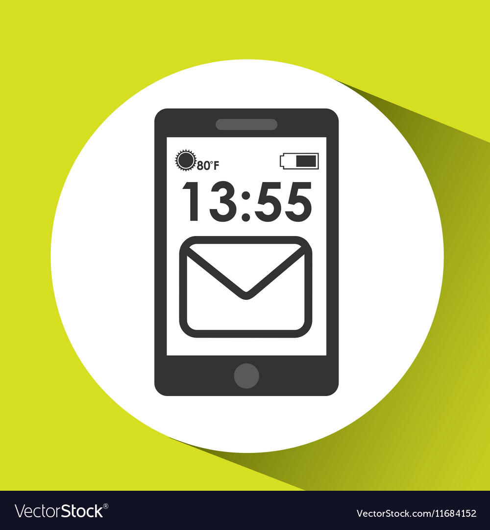 Cellphone internet email network media icon vector image