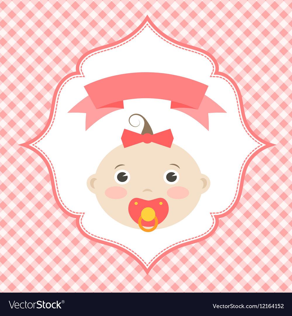 Girl baby shower invitation card vector image