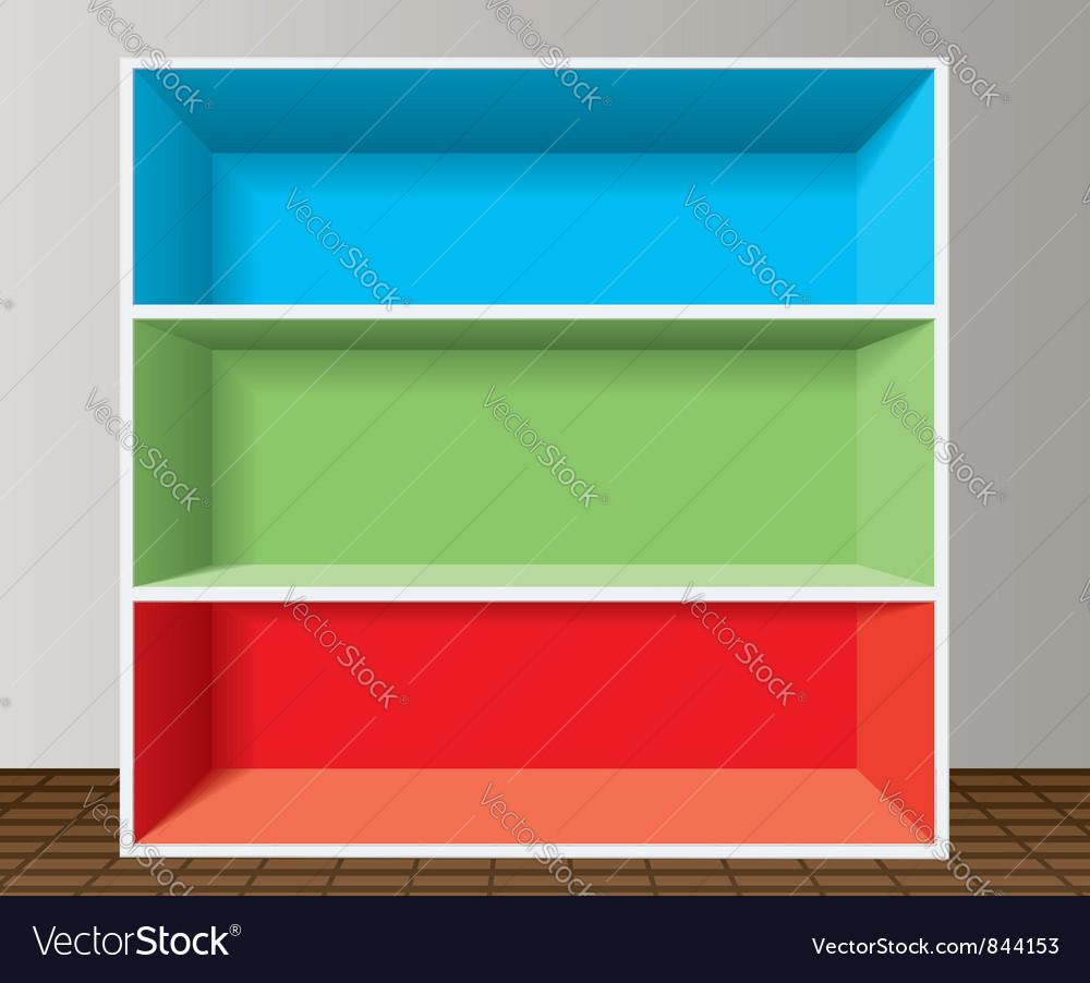 Colorful empty bookshelf vector image