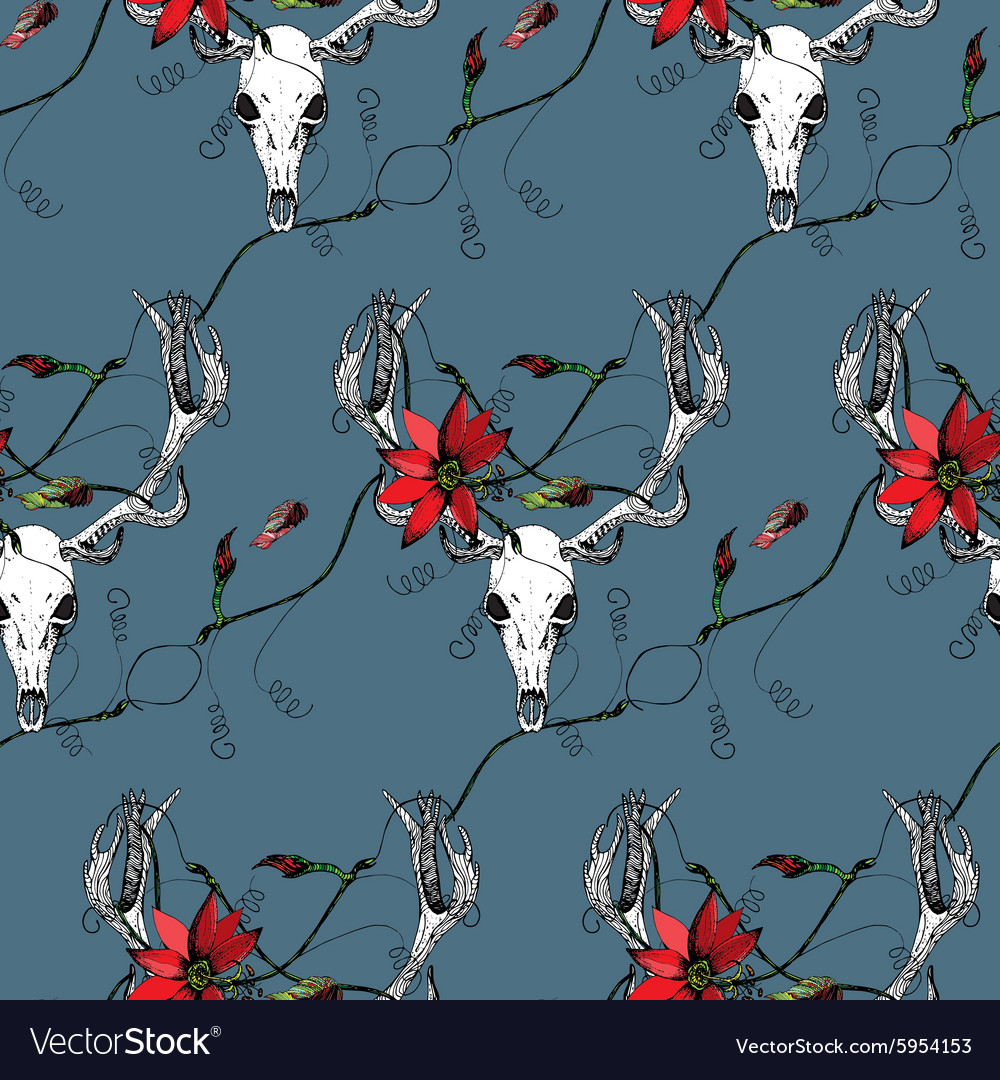 Deer Skull and passion flower blue pattern vector image