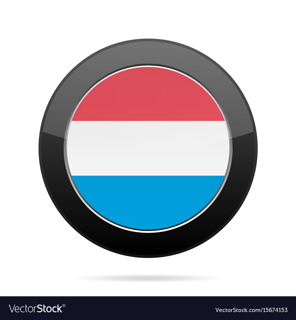 Flag of luxembourg shiny black round button vector image
