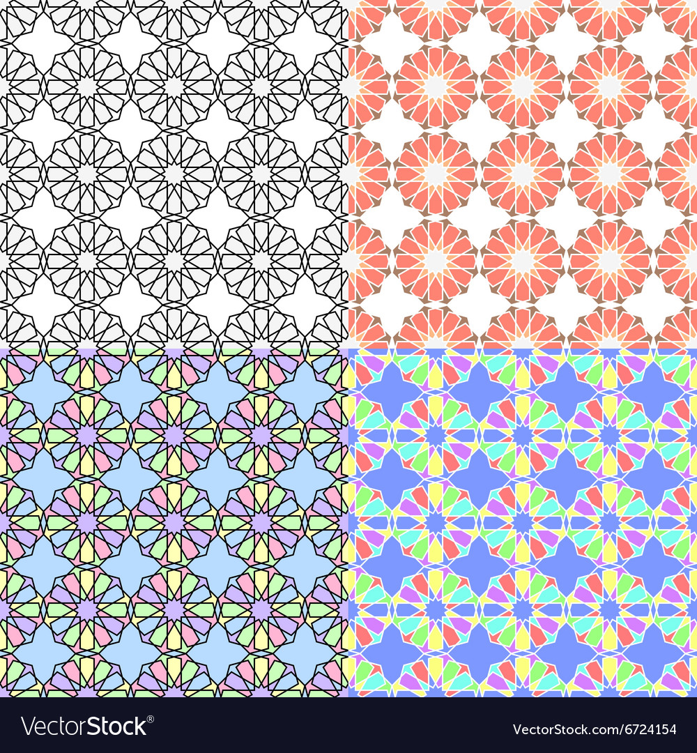 Arabic multicolor seamless patterns vector image