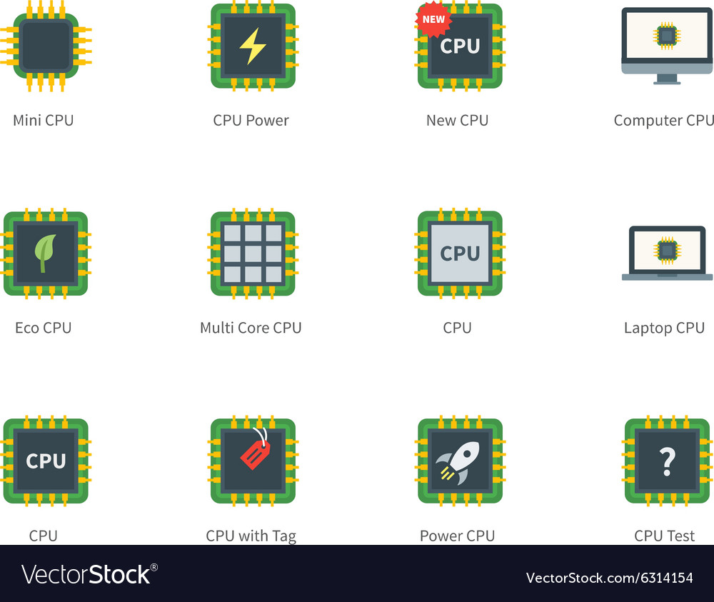 Cpu color icons on white background vector image