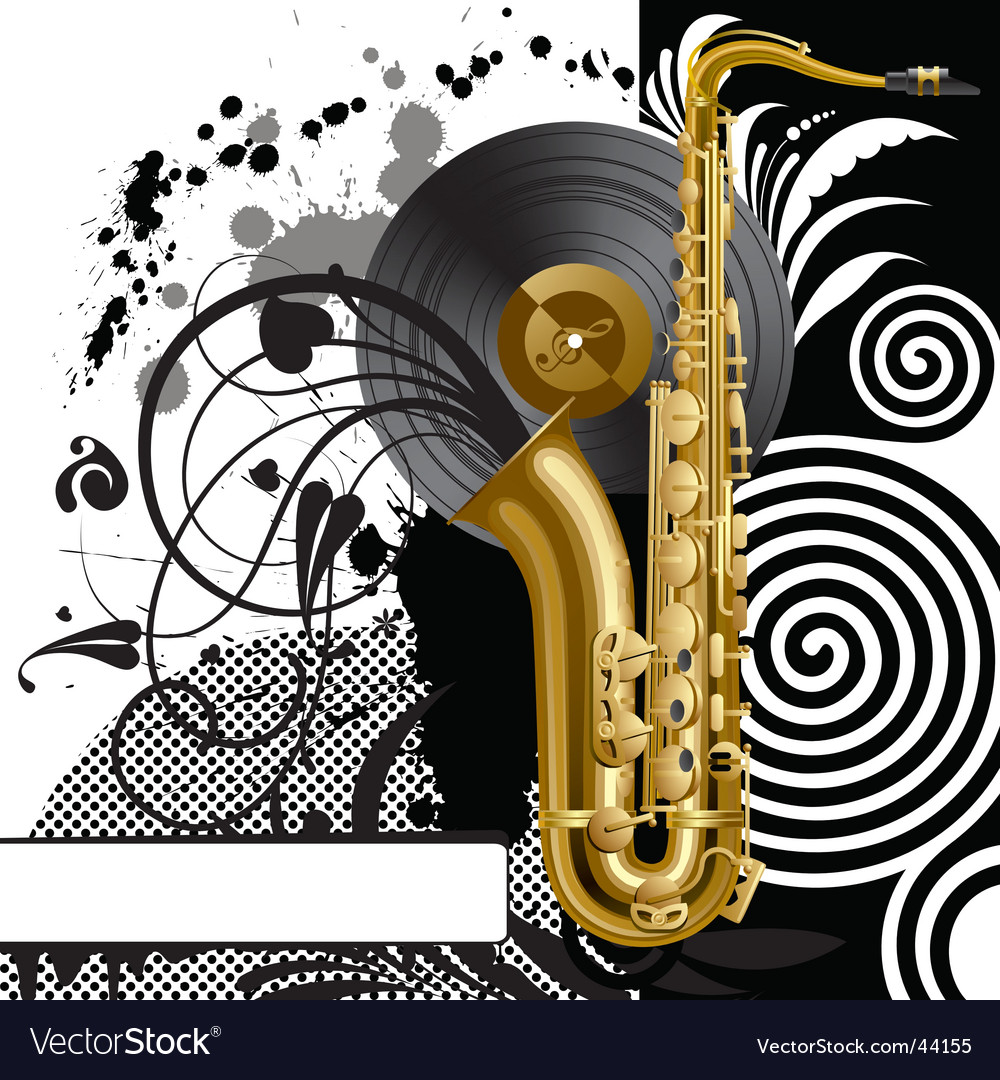 Black background with a saxophone vector image