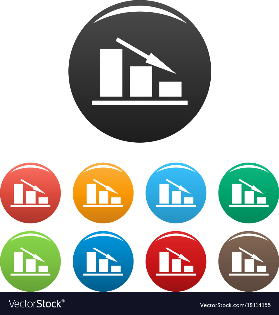Down chart icons set vector image