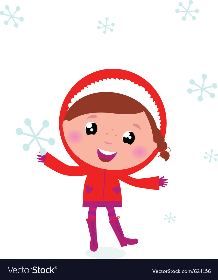 First snow - cute winter child holding snowflake vector image
