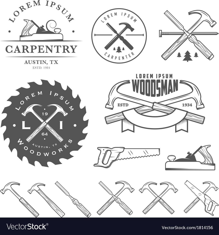Set of vintage carpentry design elements vector image
