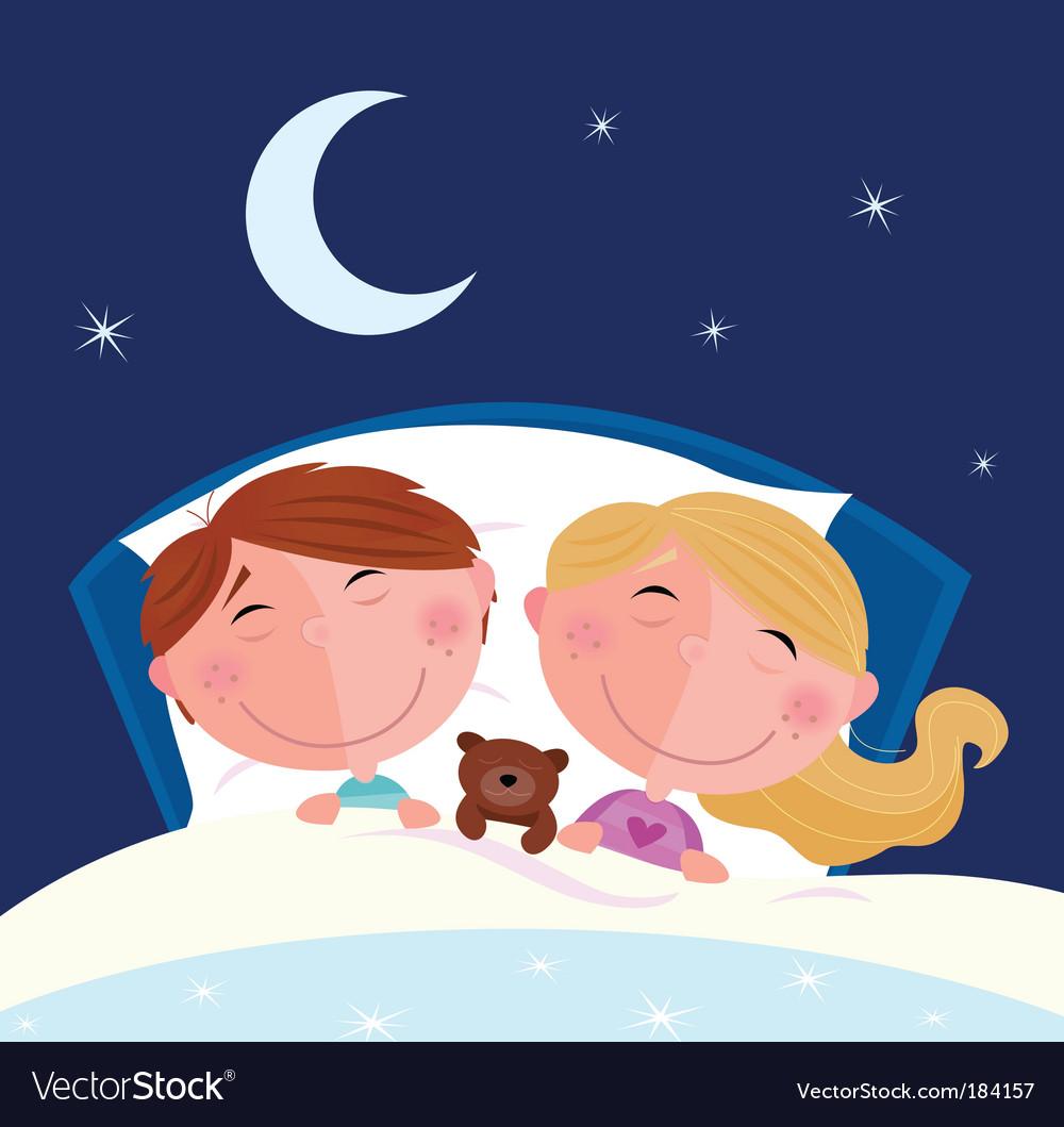 Boy and girl sleeping vector image