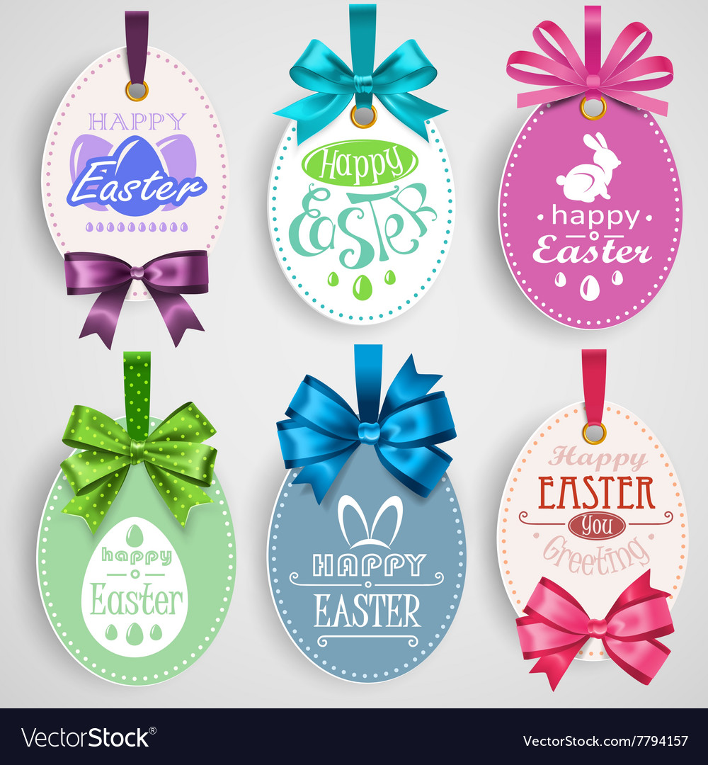 Easter emblem with bows vector image