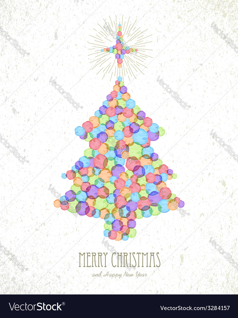 Merry Christmas watercolor tree card background vector image