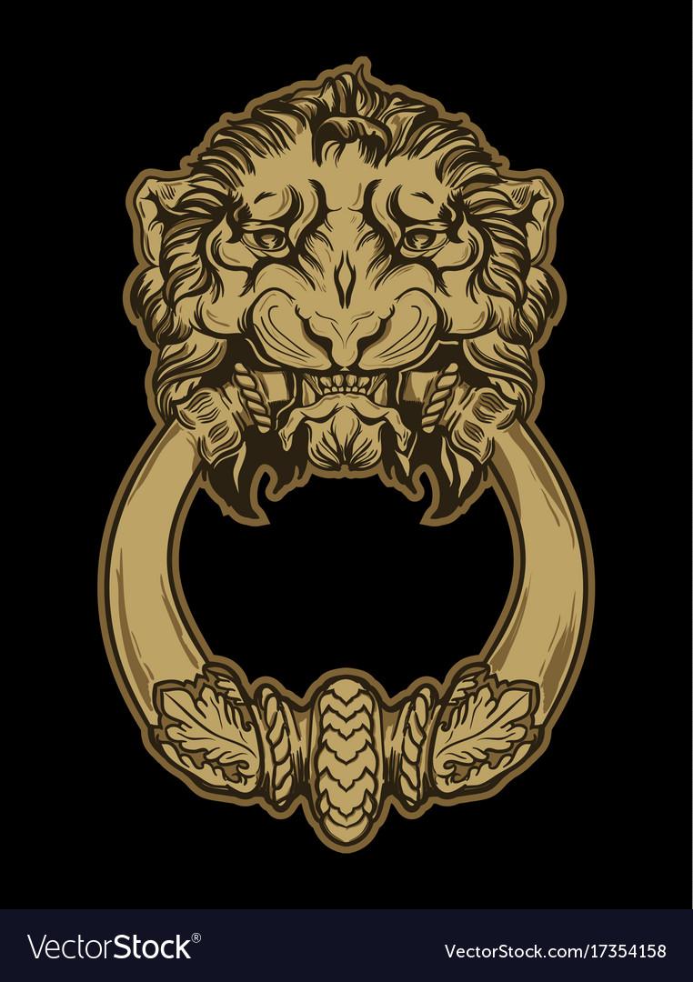 Gold lion head door knocker on black background Vector Image