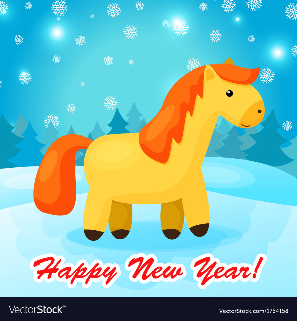 New year background with funny cartoon horse vector image
