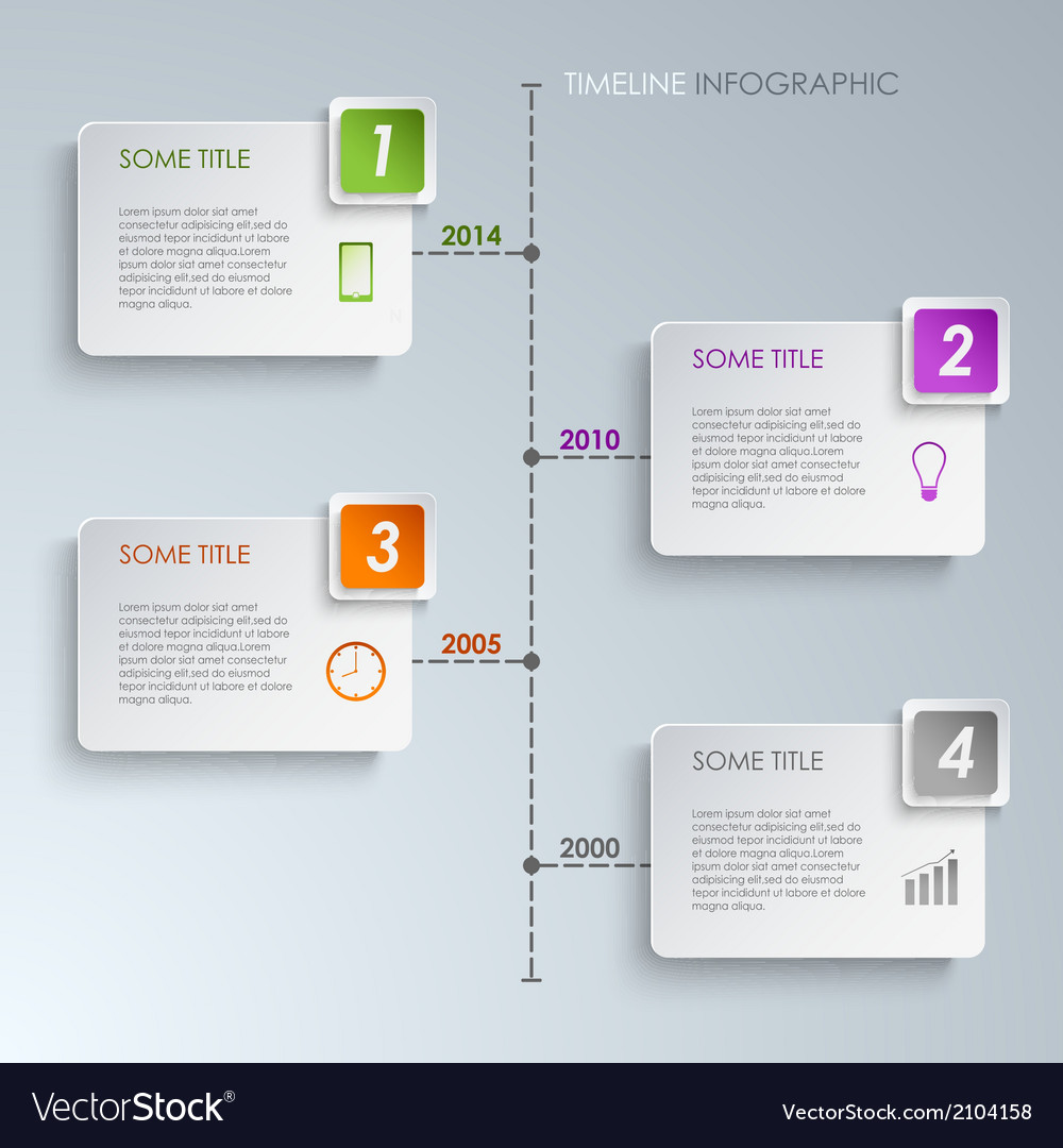 Timeline Info Graphic Rectangle Template Vector Image - Timeline graphic template