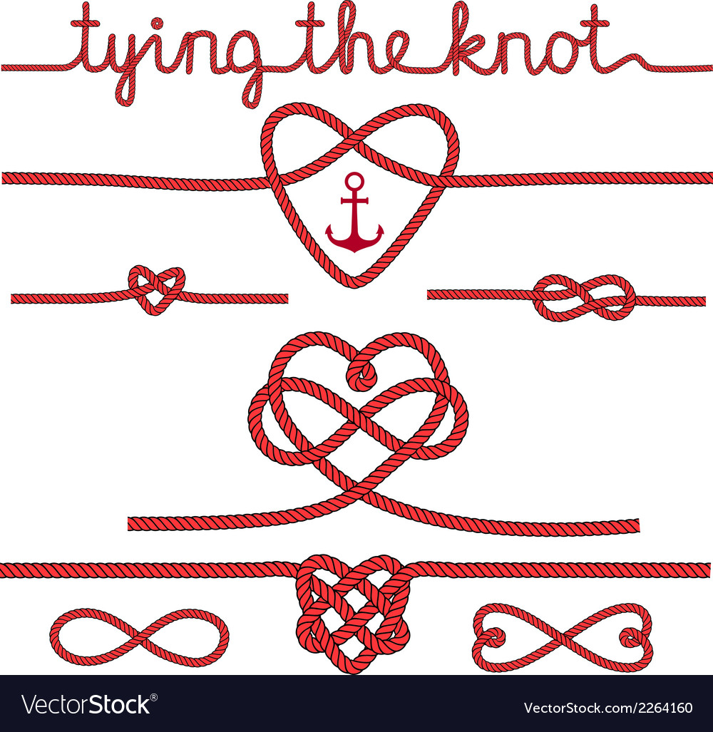 Tying the knot rope hearts set vector image