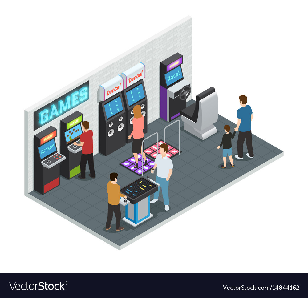 Game club interior concept vector image