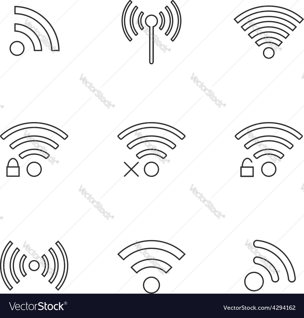 Set of nine black outline wifi icons vector image