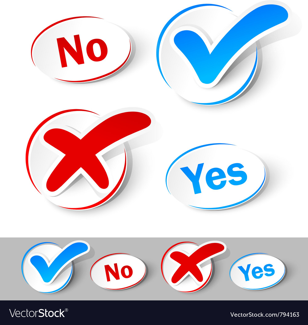 Check mark yes and no vector image