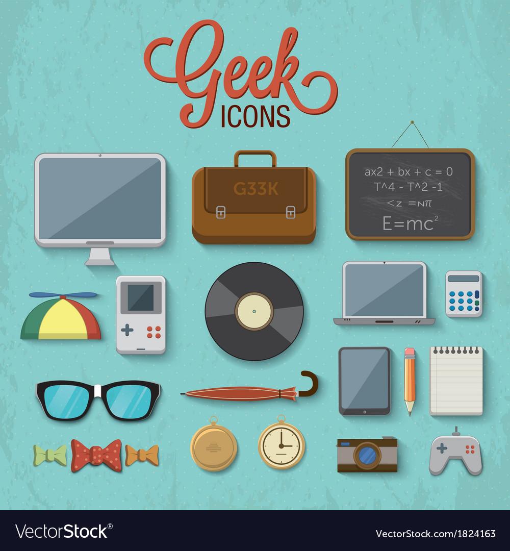 Geek accessories 2 vector image
