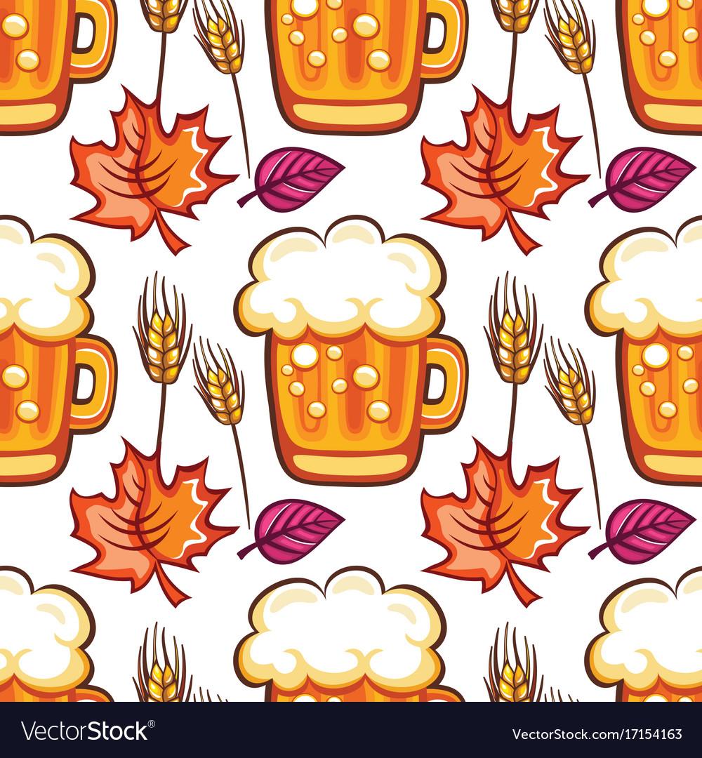 Oktoberfest beer seamless pattern cartoon beer vector image