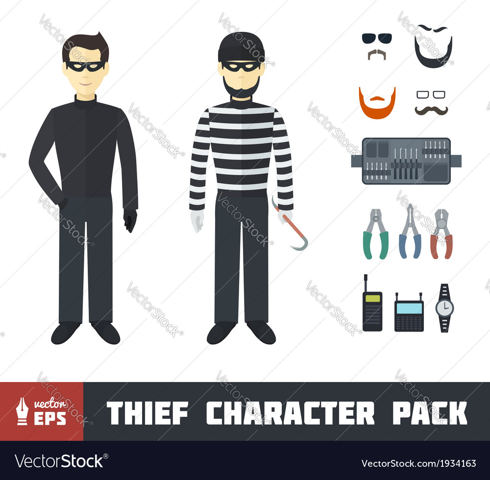 Thief Character Set vector image