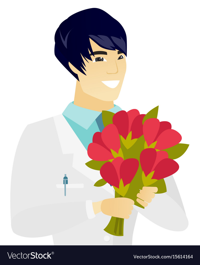 Young asian doctor holding a bouquet of flowers vector image izmirmasajfo Choice Image
