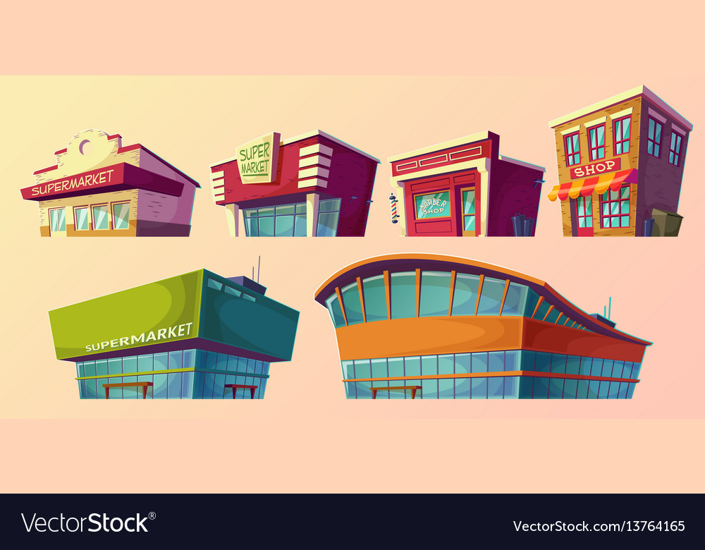 Cartoon retro and modern supermarket vector image