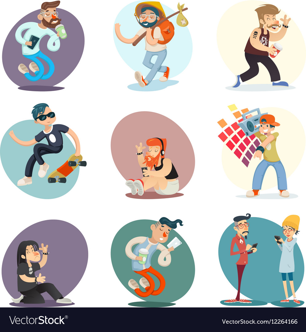 Cartoon Casual People Hipster Geek Goth Mobile vector image