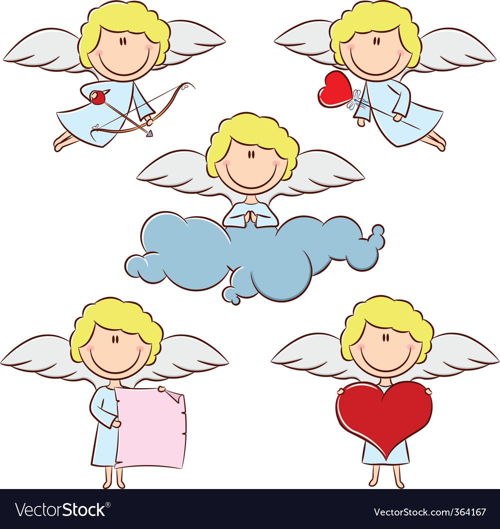 Cute color cupid set vector image