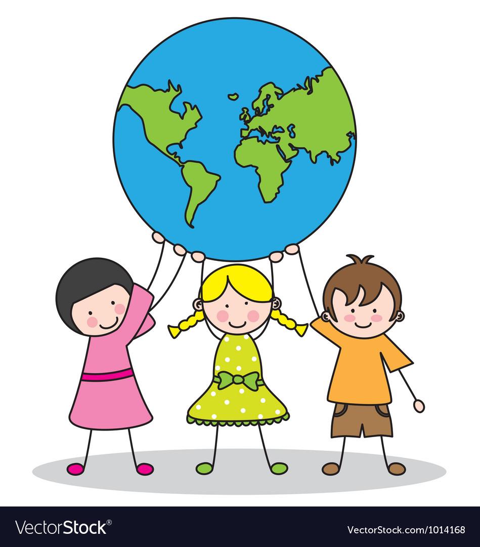 Children holding the globe Vector Image