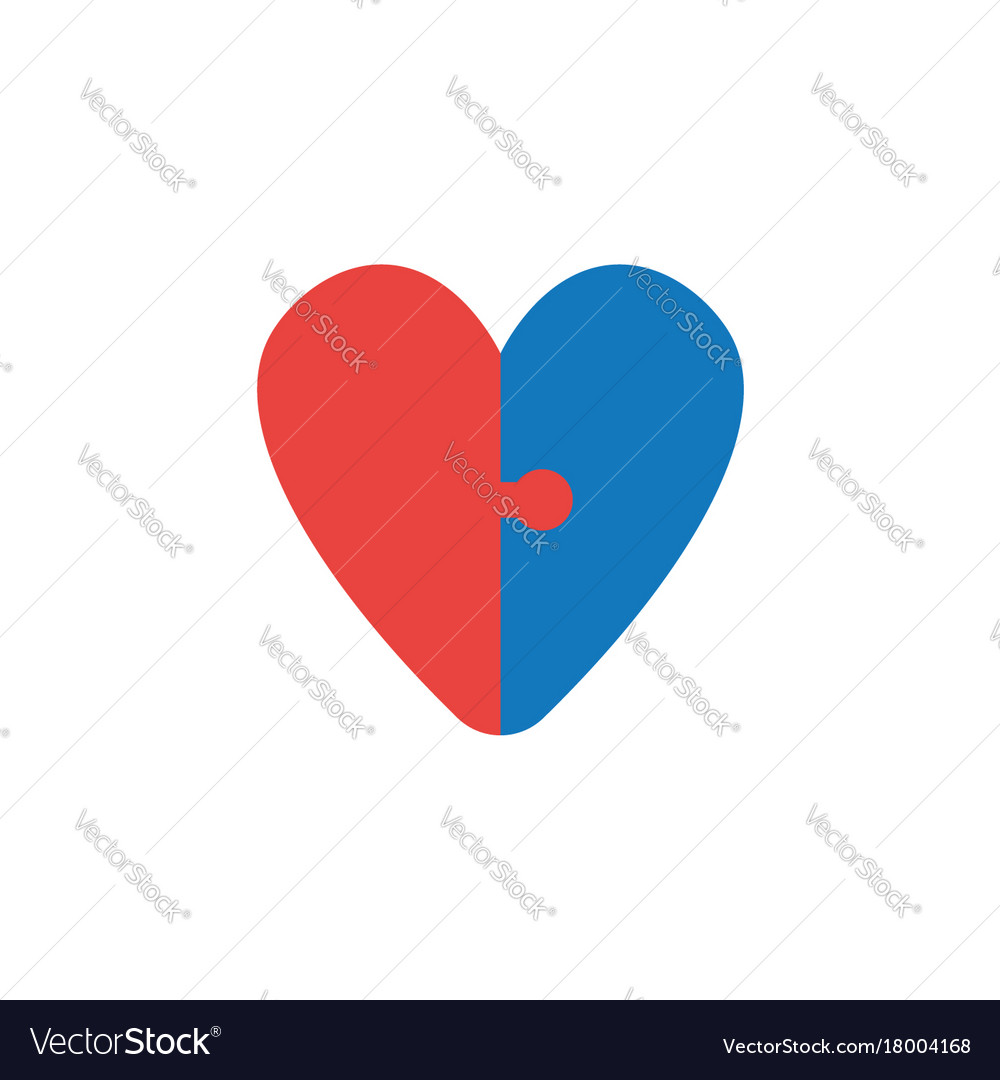 Concept of two pieces of heart shaped puzzle icon vector image