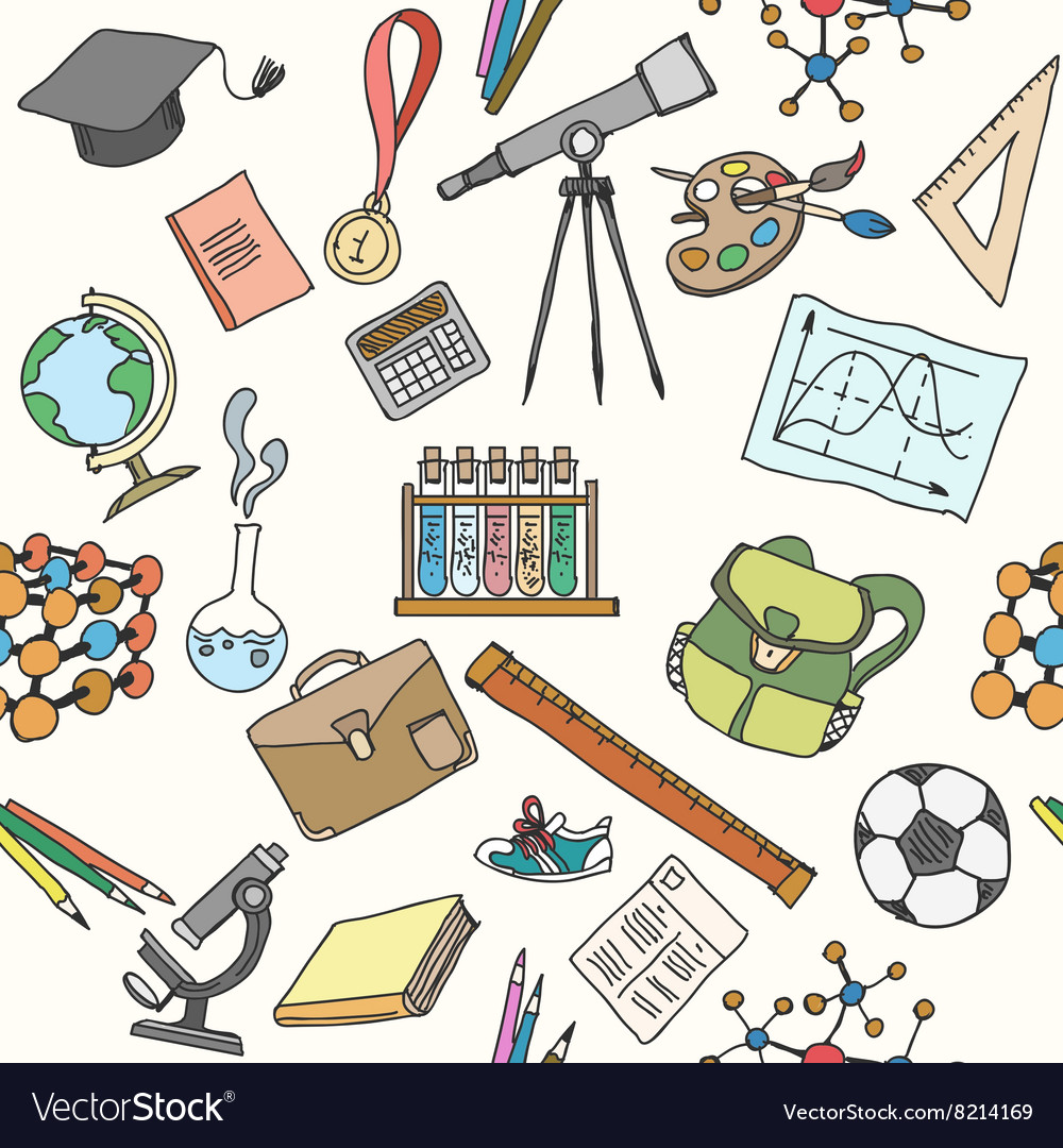 Back to school sketch seamless pattern vector image