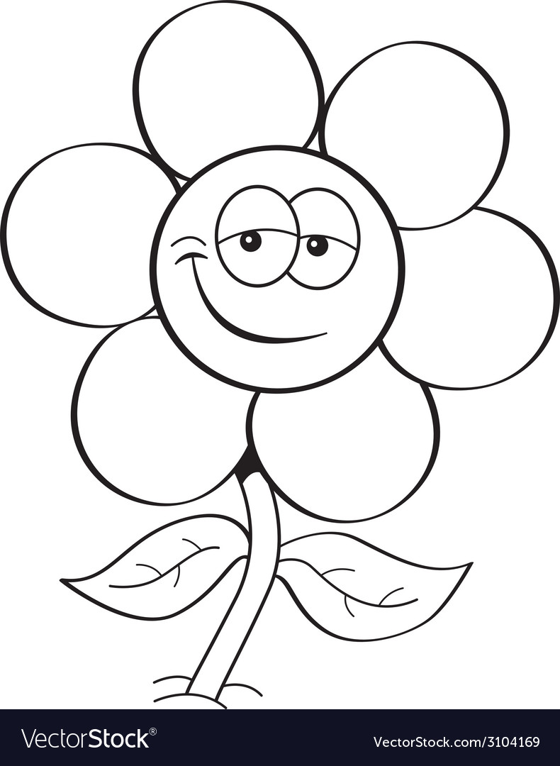 cartoon flower royalty free vector image vectorstock