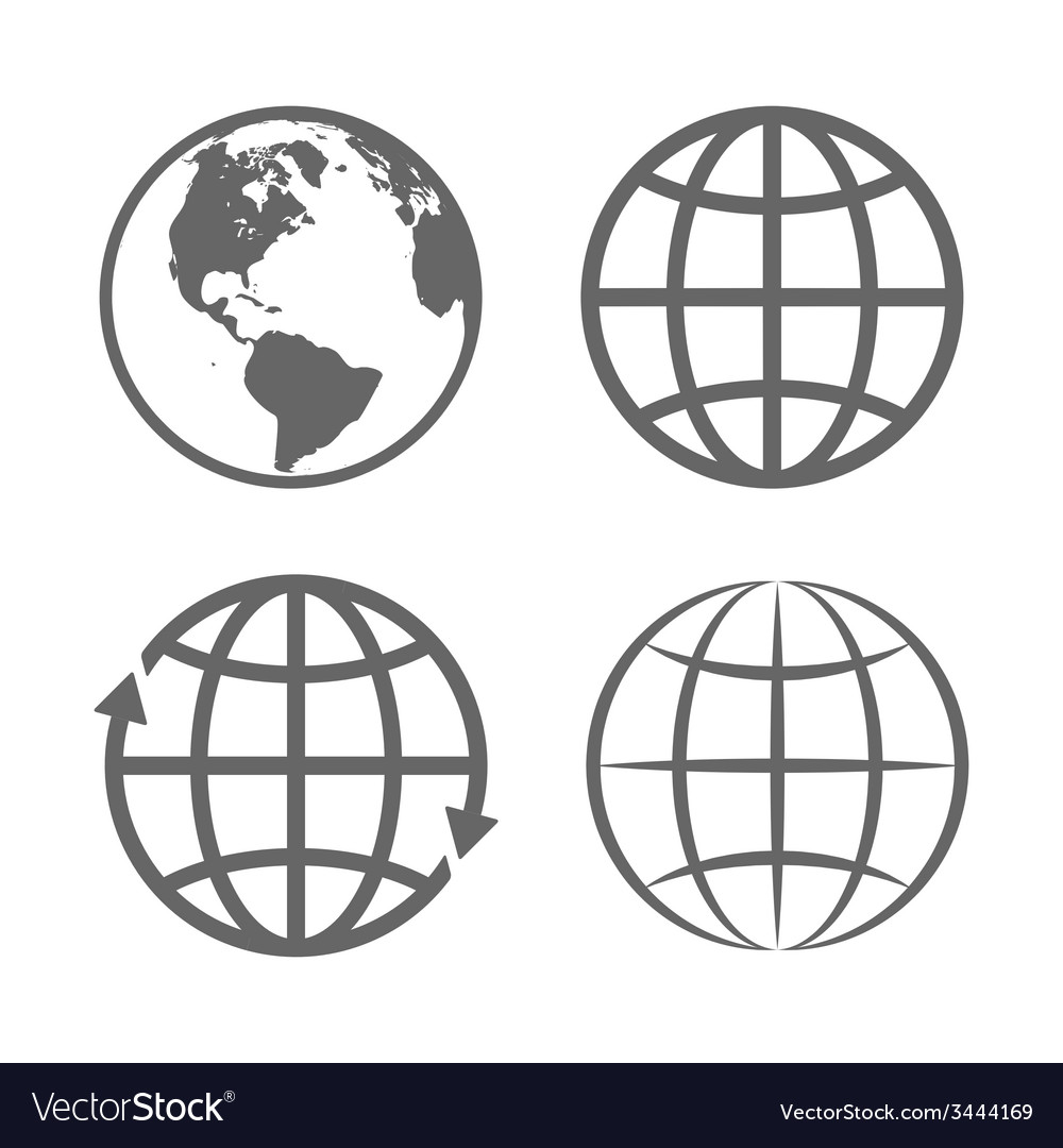 Earth Globe Emblem Logo Template Icon Set vector image