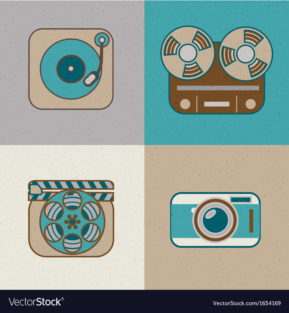 Retro flat arts icon vector image