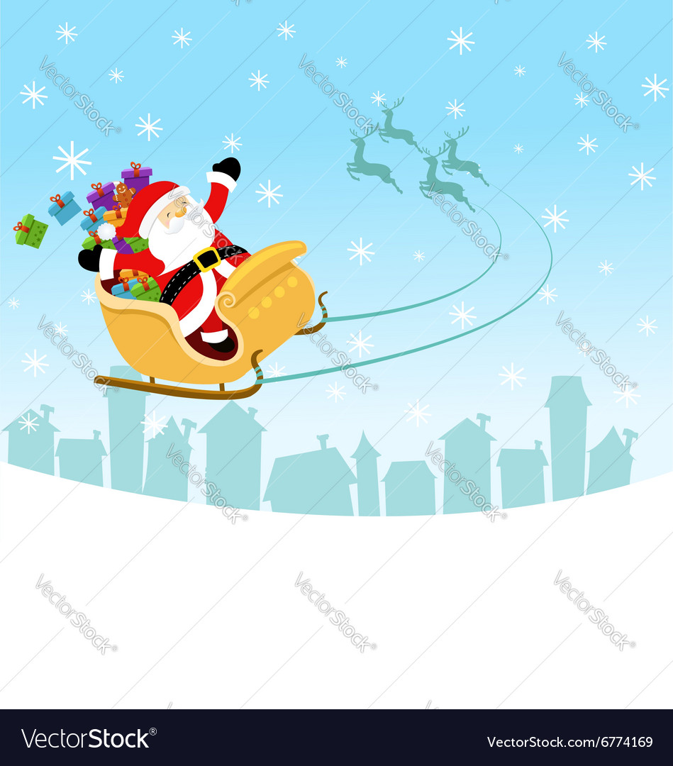 Santa Flying With Sleigh vector image