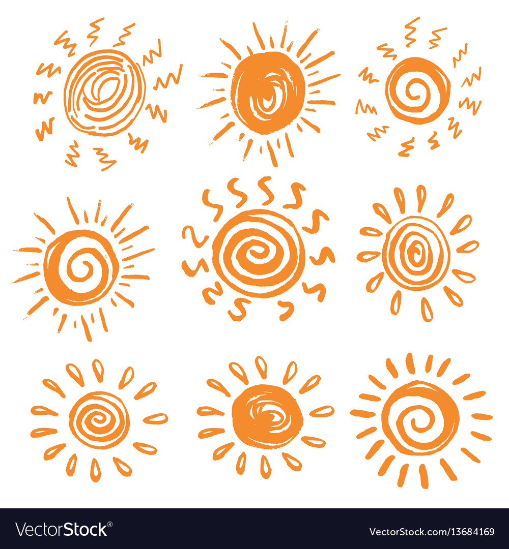 Set of hand drawn icons of sun vector image