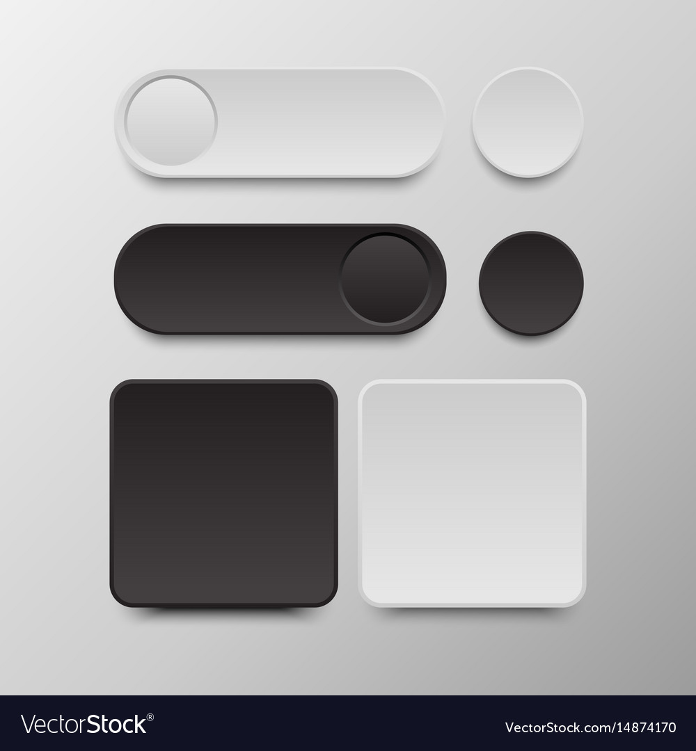 Black and white button set round and square vector image
