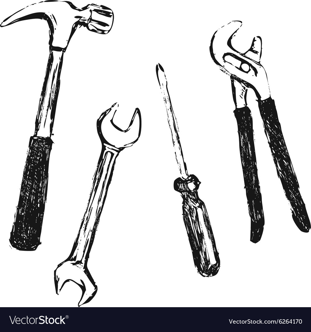 Hand Sketch Work Tool Royalty Free Vector Image