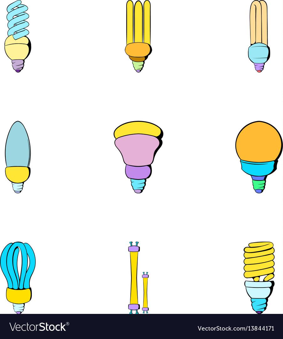 Lightbulb icons set cartoon style vector image