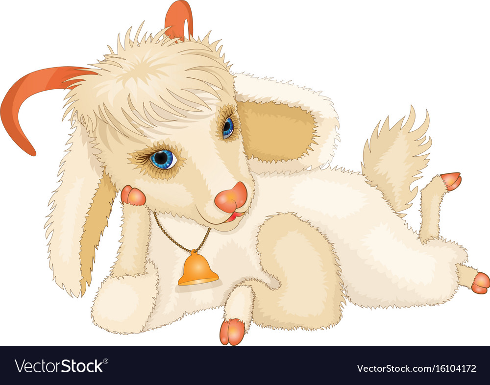 Cartoon young cute goat vector image