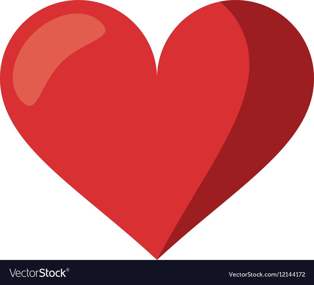 Cute red heart love romantic symbol vector image