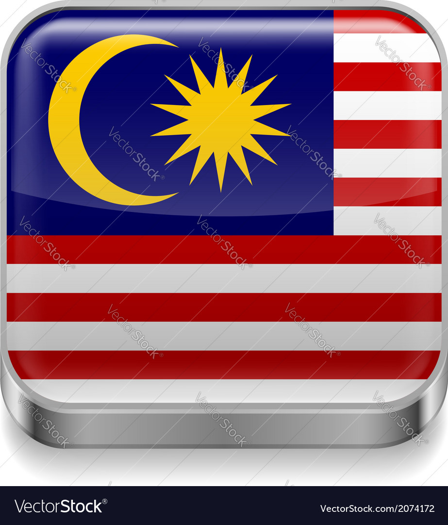 Metal icon of Malaysia vector image