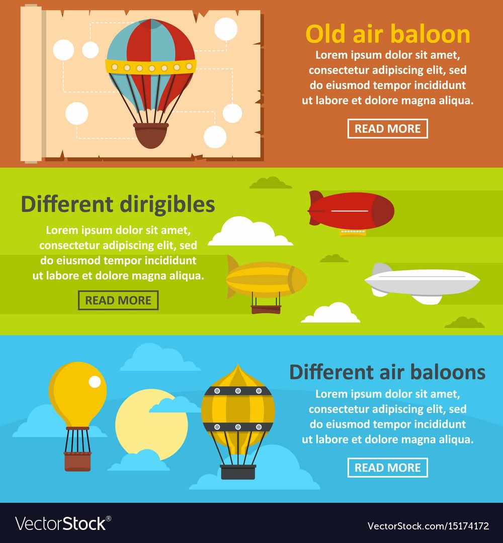 Retro balloons banner horizontal set flat style vector image