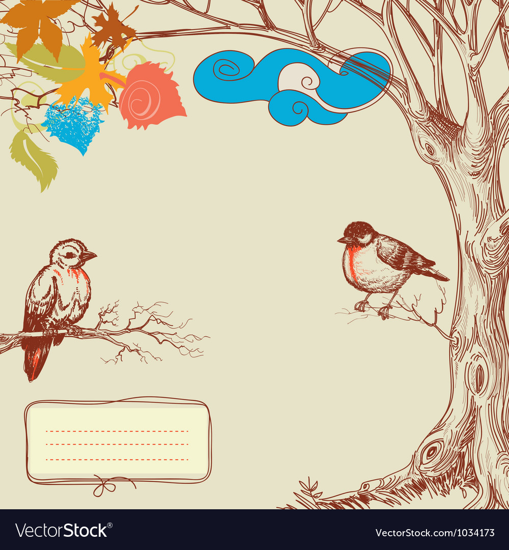 Autumn tree and birds vector image