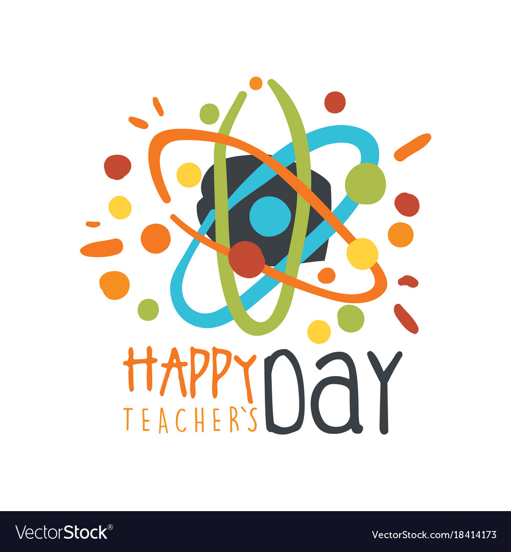 Happy teachers day greeting card with atom vector image kristyandbryce Choice Image