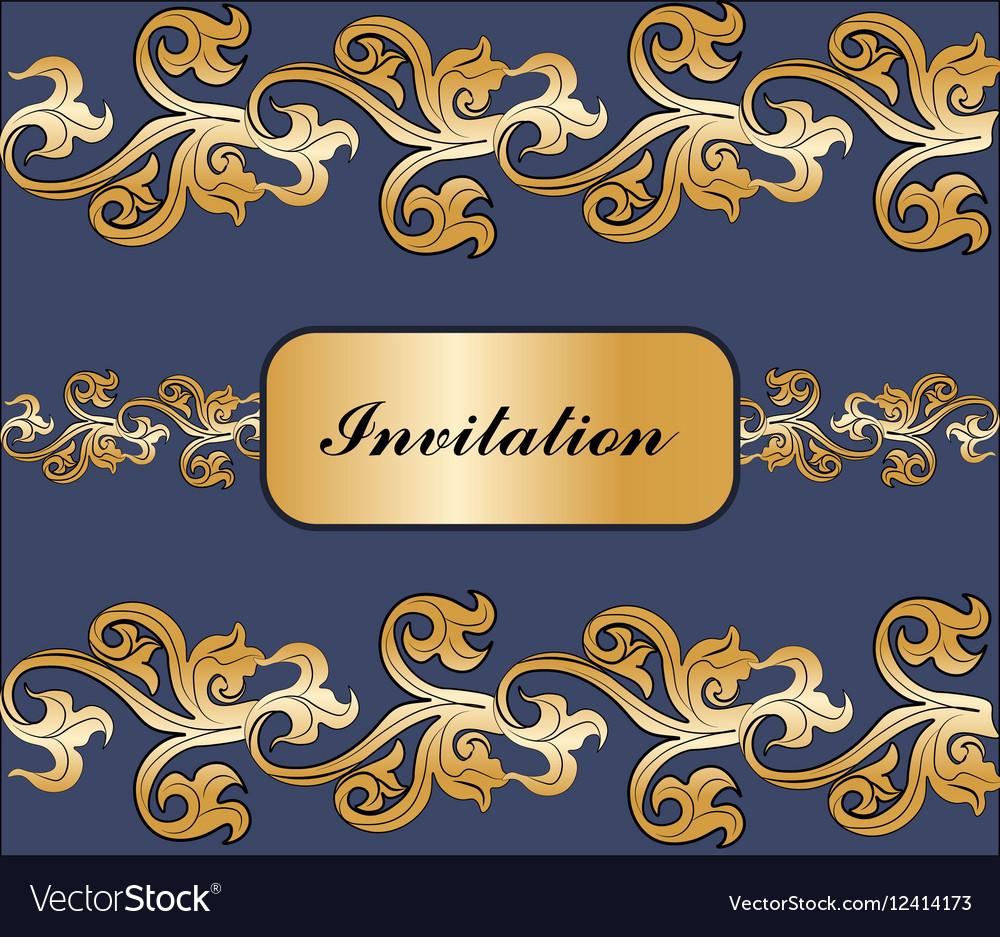 Vintage Royal classic ornament invitation border vector image