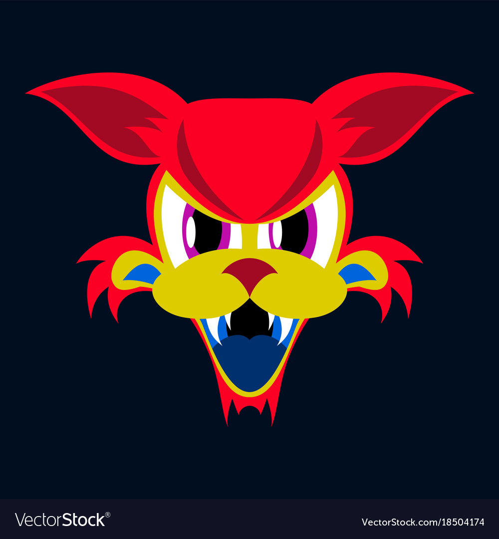 Flat icon on theme angry cat animal