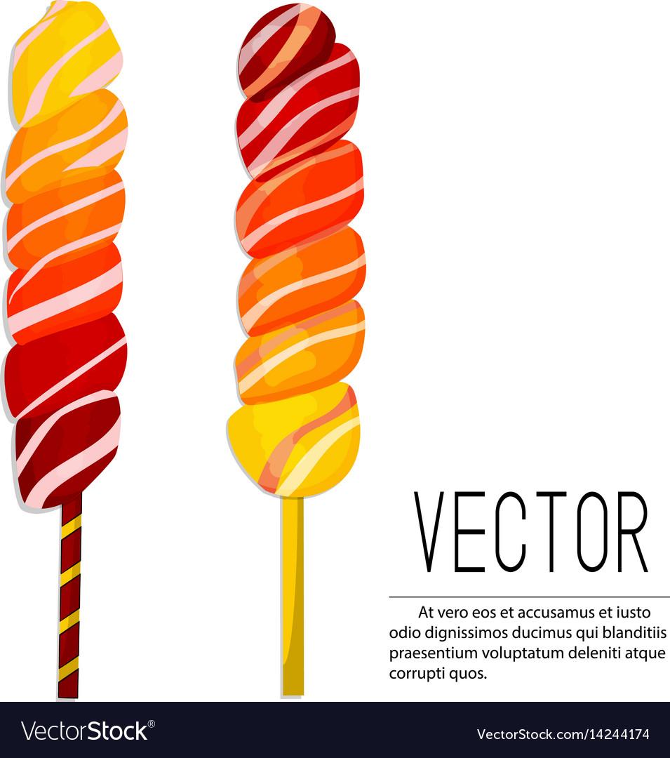 Lollipop ombre candies yellow vector image