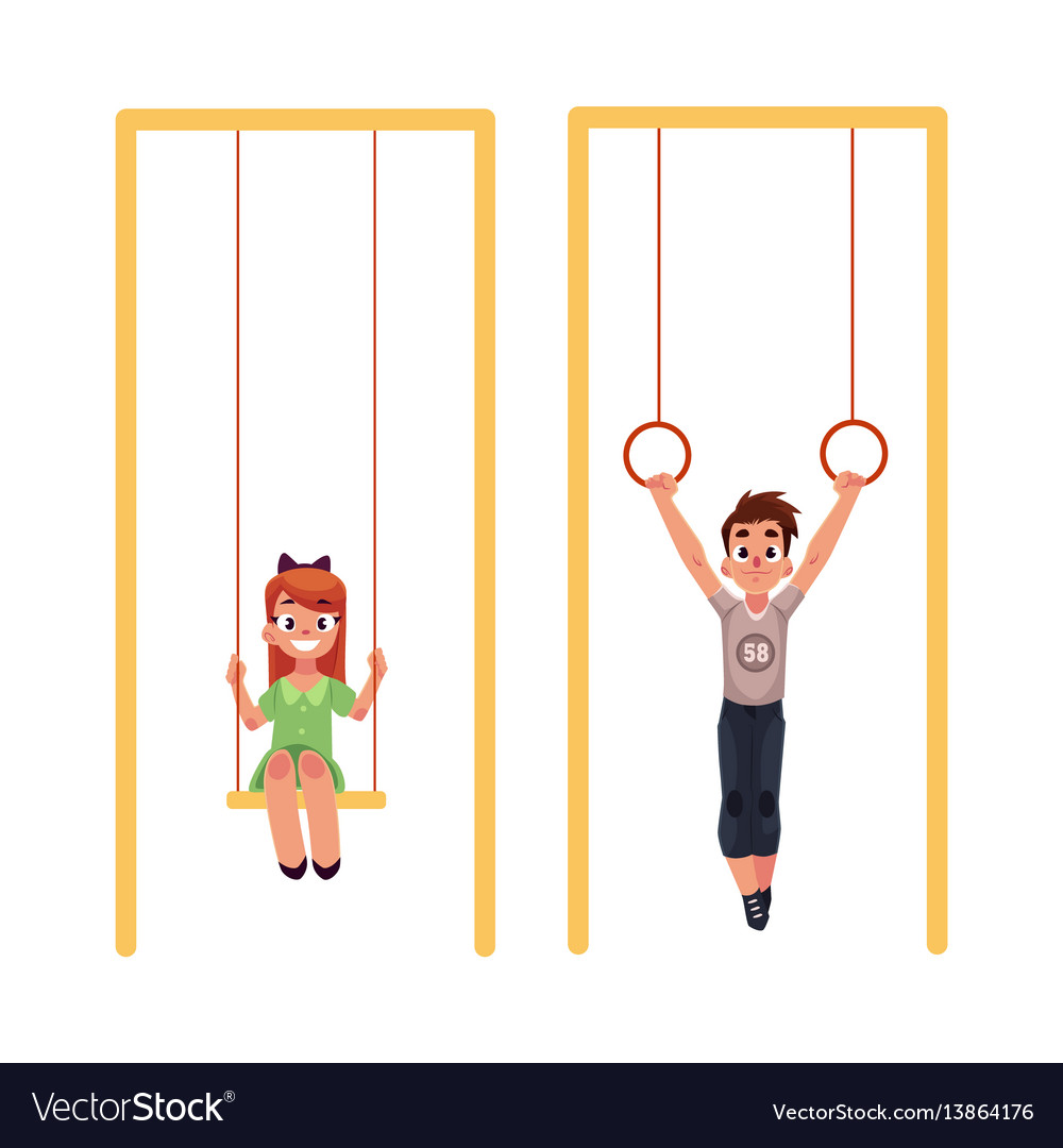 Kids at playground hanging on gymnastic rings vector image