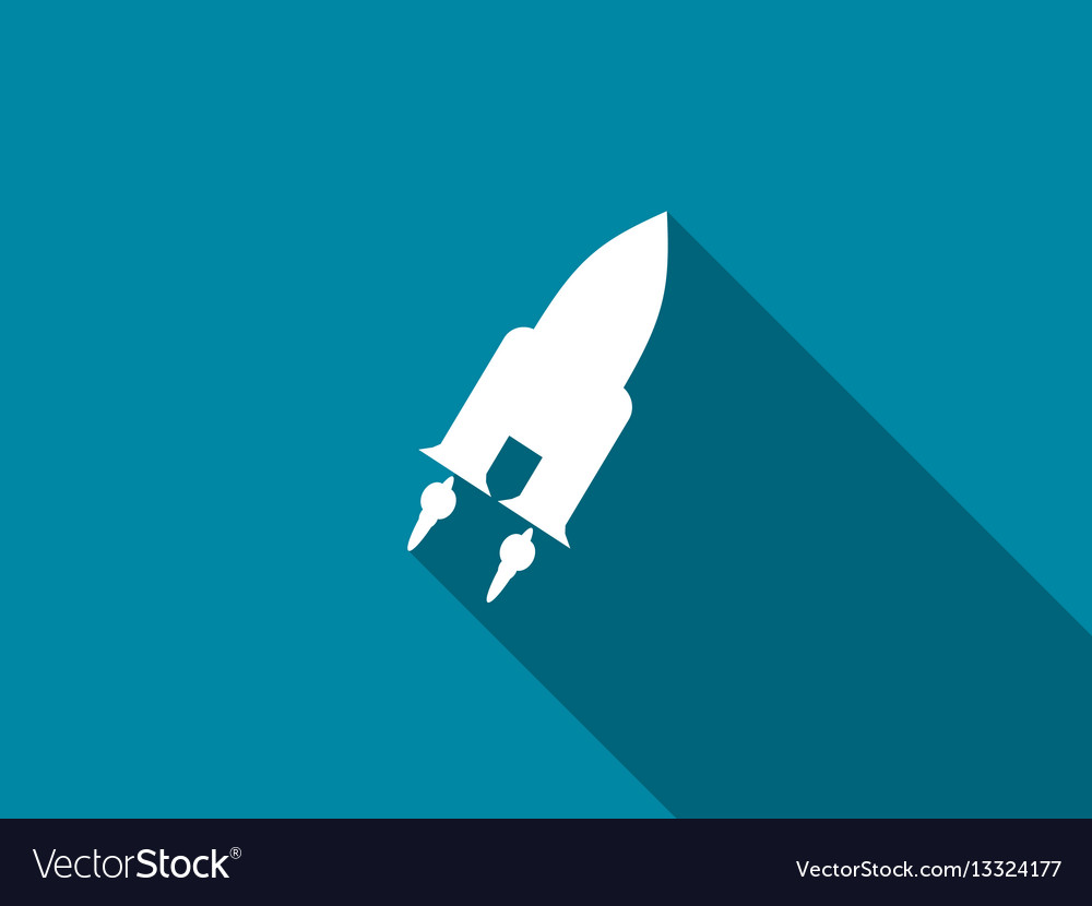 Space shuttle flat icon with long shadow vector image